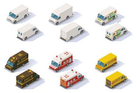транспорт: Набор различных типов изометрических шаг фургонов, вид сзади переднего конца