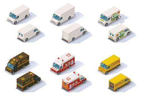 Set of the different types of isometric step vans, front end rear view Illustration