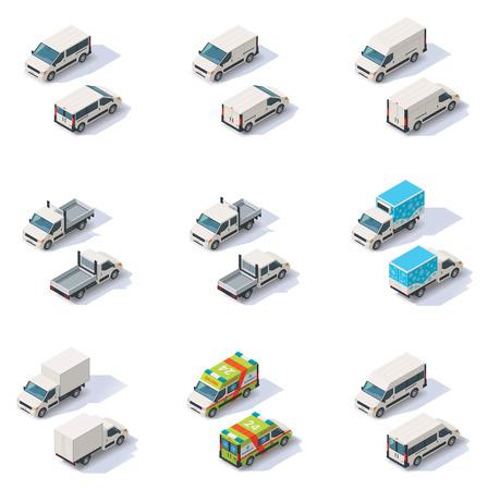 doprava: Sada různých typů izometrické dodávkových vozů, front end pohled zezadu