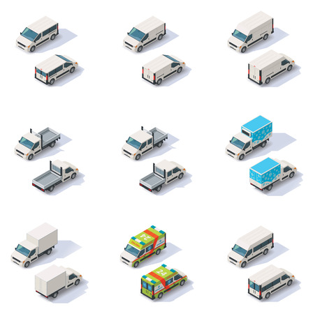 emergency services: Set of the different types of isometric vans, front end rear view