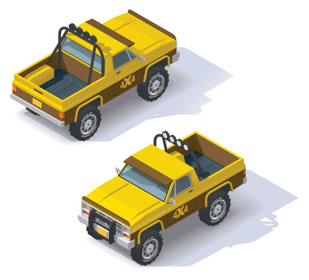 pickup truck: Isometric icon representing pickup truck