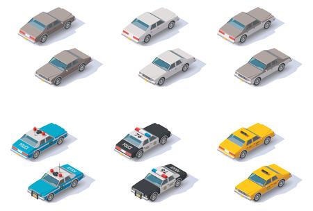 Conjunto de los coches isométricos con vistas frontales y traseros