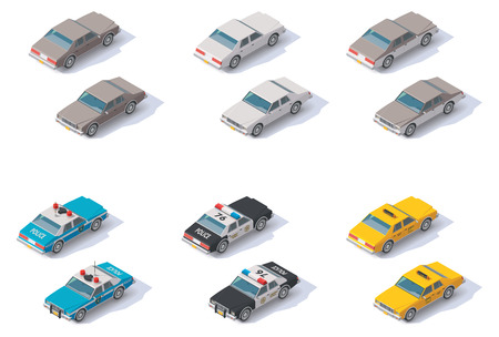 Set of the isometric cars with front and rear views Ilustração