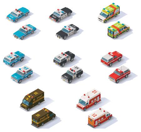 Set van de isometrische hulpdiensten auto's met uitzicht op de voor- en achterzijde
