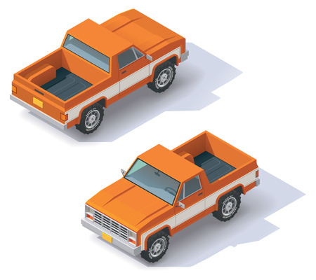 pick up truck: Isometric icon representing pickup truck