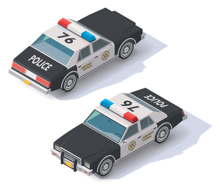 car icon: Isometric black and white police car icon