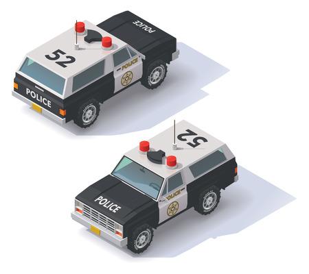 motor de carro: Icono isom�trico SUV polic�a blanco y negro