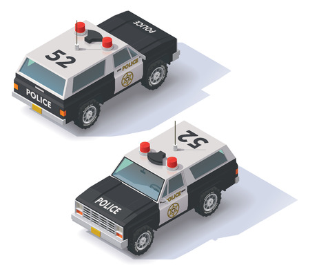 police: Isometric black and white police SUV icon Illustration