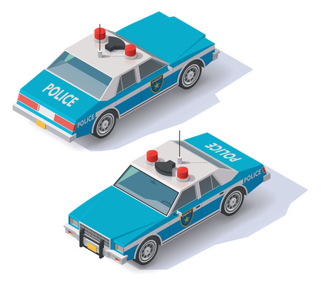 highway patrol: Isometric blue and white police car icon Illustration