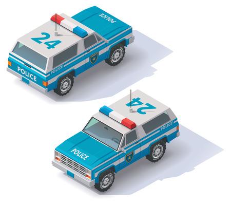 motor de carro: Icono isométrico SUV policía blanco y negro