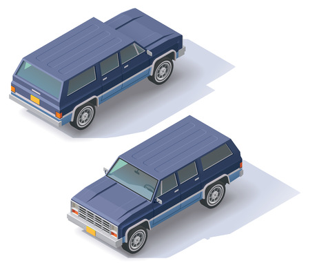 utility vehicle: Isometric icon representing sport utility vehicle