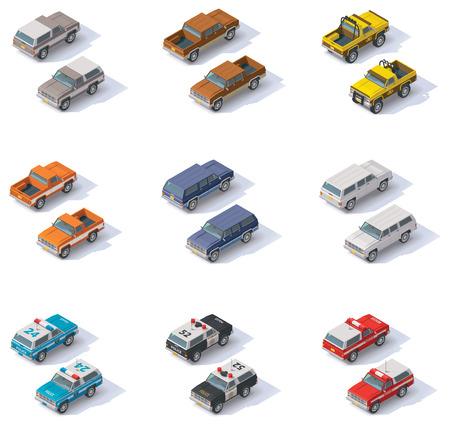pickups: Set di SUV e pick-up isometriche Vettoriali