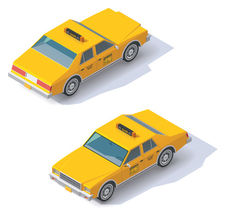 yellow taxi: Set of the isometric taxi cab with front and rear views