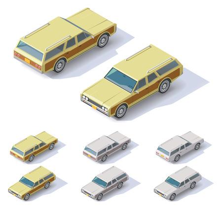 motor de carro: Conjunto de los coches isom�tricos con vistas frontales y traseros