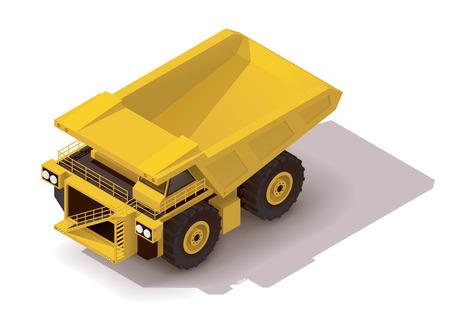 Isometric icon representing heavy yellow mine dumper truck Çizim