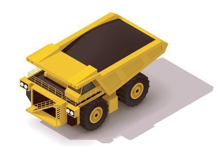 camion minero: Icono isométrico que representa amarillo pesado camión dumper mina