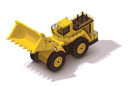 cargador frontal: Icono isom�trico que representa pesada cargadora de ruedas amarilla