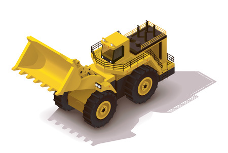wheel loader: Isometric icon representing heavy yellow wheel loader