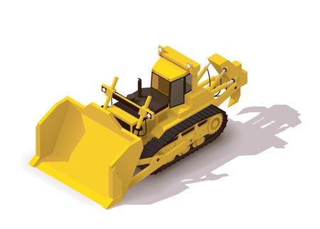 Isometric icon representing mining bulldozer Vector