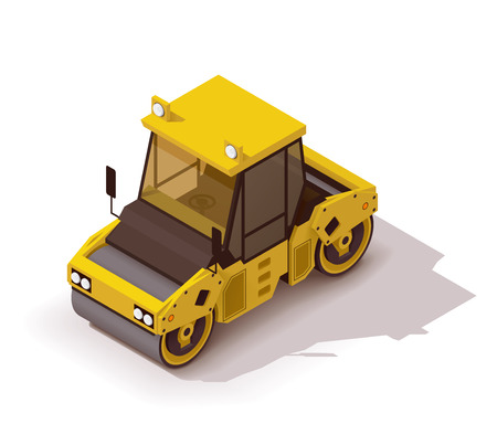 Isometric icon representing road roller