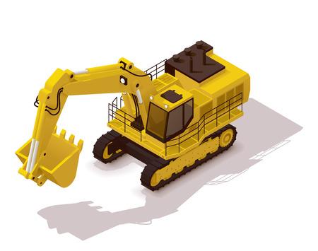 Isometric icon representing heavy yellow excavator