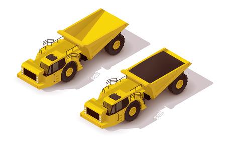 dumptruck: Isometric icon representing yellow underground dumper truck