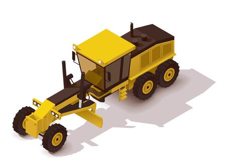 road grader: Isometric icon representing heavy yellow grader