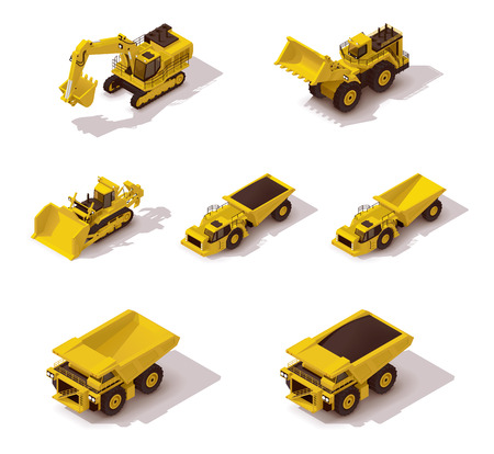 excavator: Set of the isometric icons representing mining machinery
