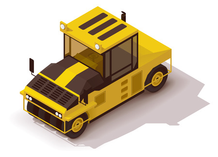 road roller: Isometric icon representing pneumatic road roller