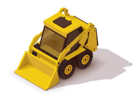 construction icon: Isometric icon representing yellow mini loader Illustration