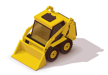 Isometric icon representing yellow mini loader Illustration