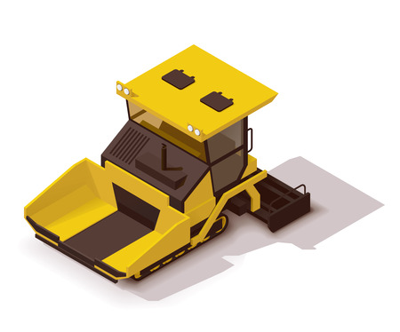 road paving: Isometric icon representing paving machine