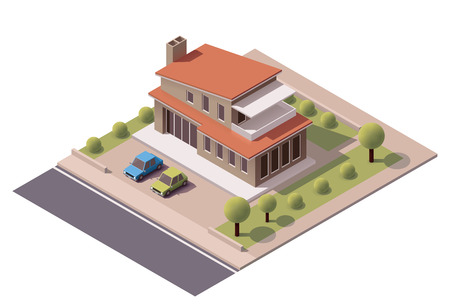 property: Isometric icon representing modern house with backyard