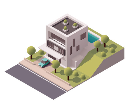 car parking: Isometric icon representing modern house with backyard