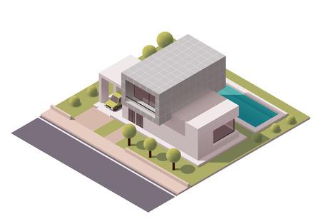 뒤뜰 현대 집을 나타내는 아이소 메트릭 아이콘