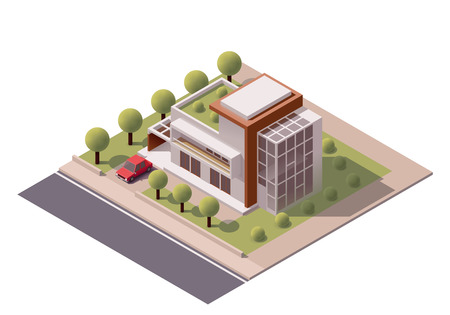 building real estate modern: Isometric icon representing modern house with backyard