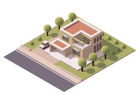 fachada: Icono isométrico que representa la moderna casa con patio trasero Vectores