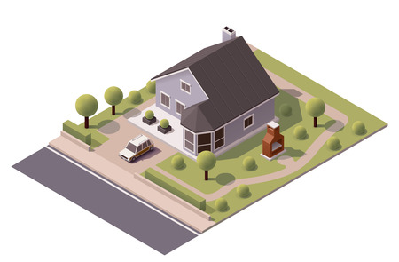 garage on house: Isometric icon representing modern house with backyard