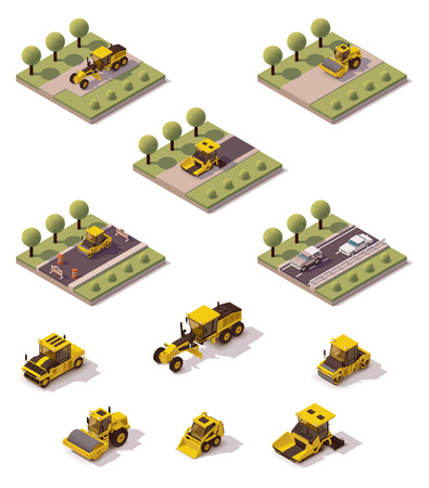 compactor: Isometric icons representing road paving process