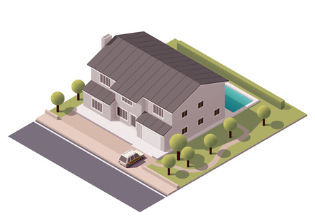 luxury home exterior: Isometric icon representing house with backyard Illustration