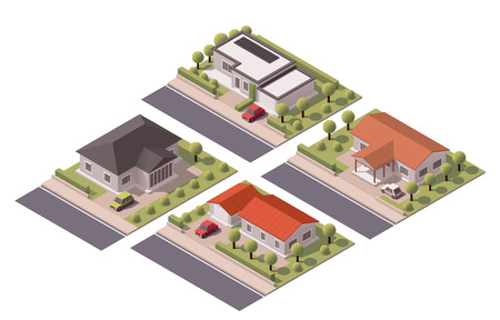 villa: Isometric icon set representing houses with backyard