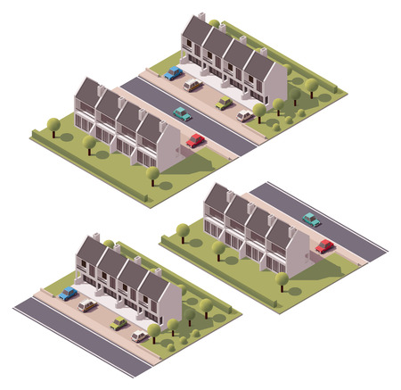 suburban street: Isometric icon set representing houses with backyard