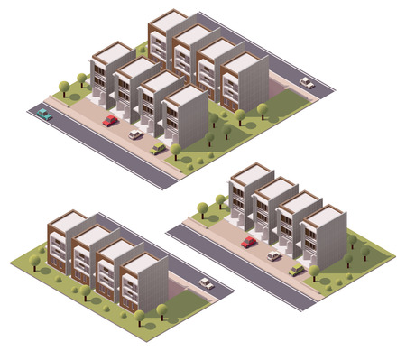 3d bungalow: Isometric icon set representing houses with backyard