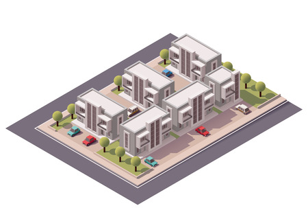 patio set: Vector isometric townhouses set Illustration