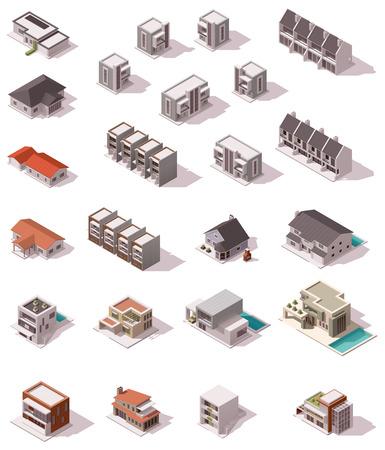 ベクトル等尺性建物セット