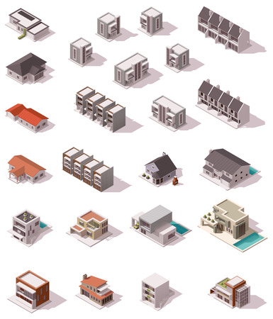 garage on house: Vector isometric buildings set