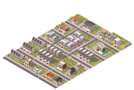 houses street: Isometric map of the small town or suburb