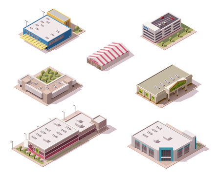 Vector isometric shopping malls and supermarkets buildings set Ilustrace