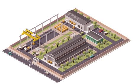 Isométrica conjunto de iconos que representan fábrica con patio trasero