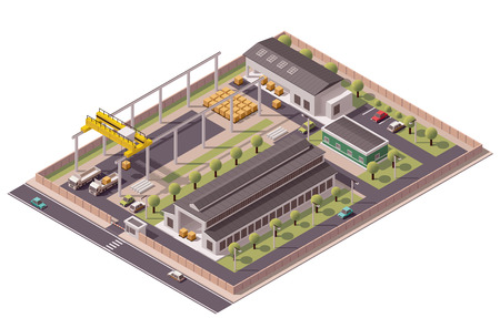 Isometric icon set representing factory with backyard Çizim